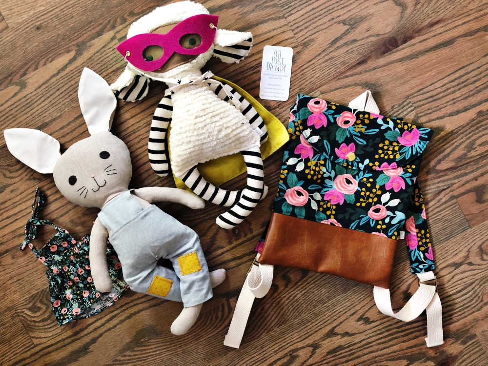 oh just dandy, rabbit stuffy, toddler backpack, nashville, handmade, maker