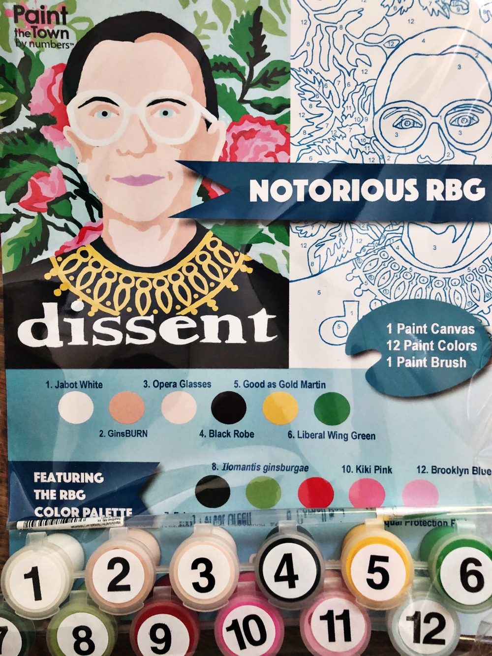 paint by number, ruth bader ginsburg, maker, handmade, nashville
