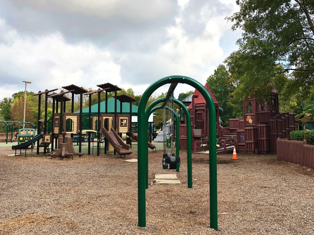 swings and climbing structure/playscape at Don Fox Community Park in Lebanon, TN